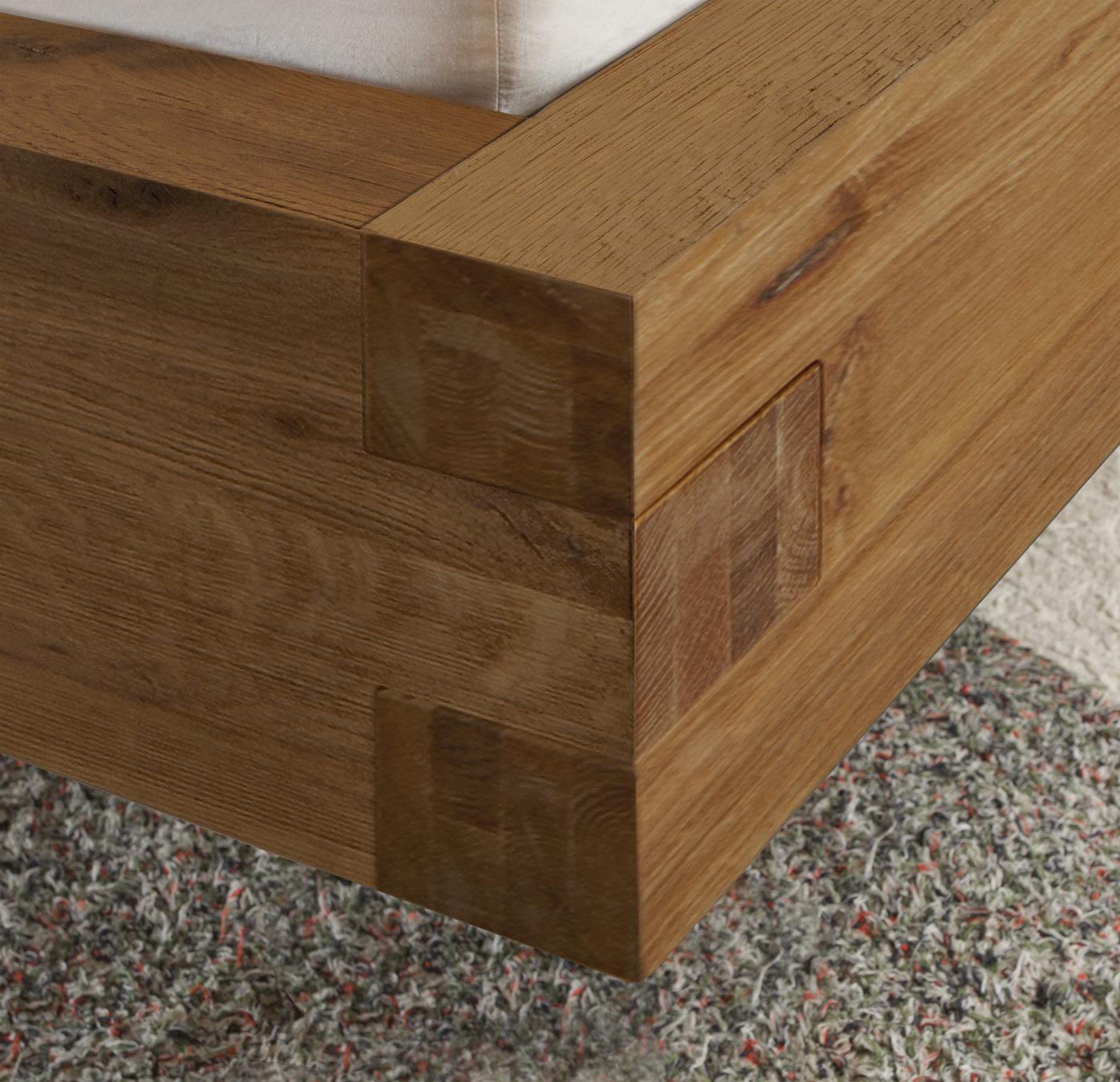 bett aus wildeiche mit kopfteil aus kunstleder leros. Black Bedroom Furniture Sets. Home Design Ideas