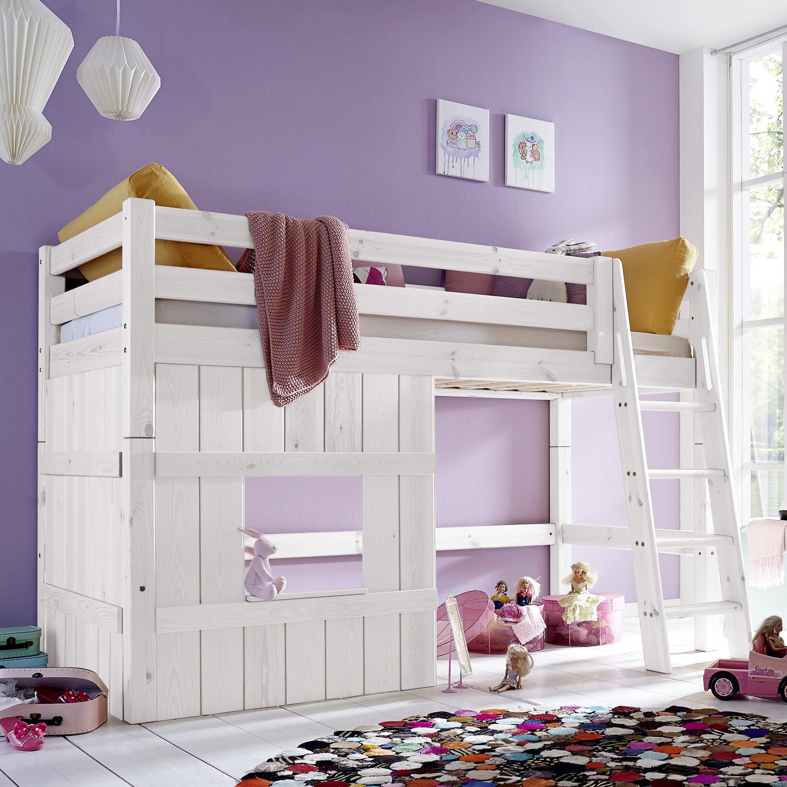 hochbett aus holz mit leiter f r m dchen kids paradise. Black Bedroom Furniture Sets. Home Design Ideas