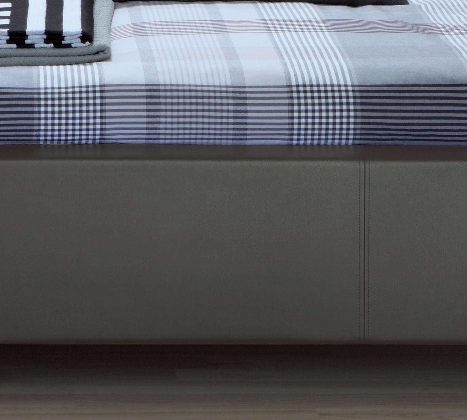 lederbett 140x200 cm ma e in wei polsterbett gordon. Black Bedroom Furniture Sets. Home Design Ideas