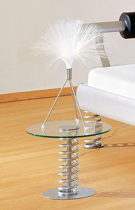 nachttisch aus metall und glas mit feder - elastic, Schlafzimmer design