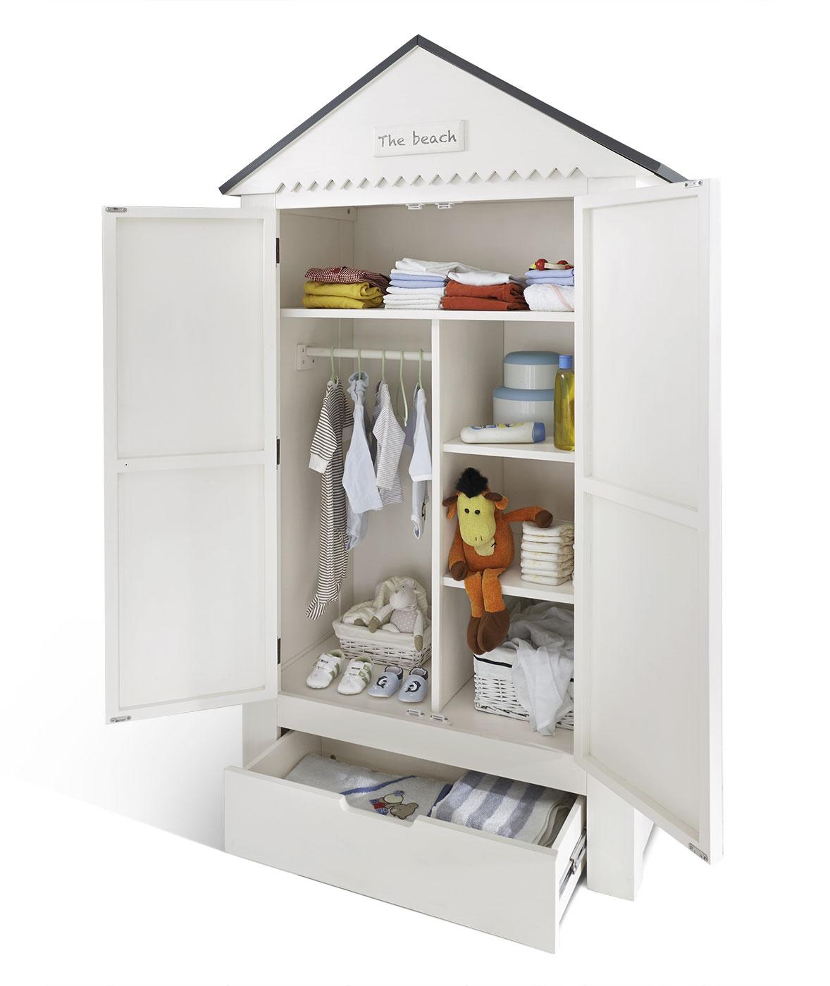 Weiß lasierter Kleiderschrank aus Kiefer mit Schubfach - Coastline