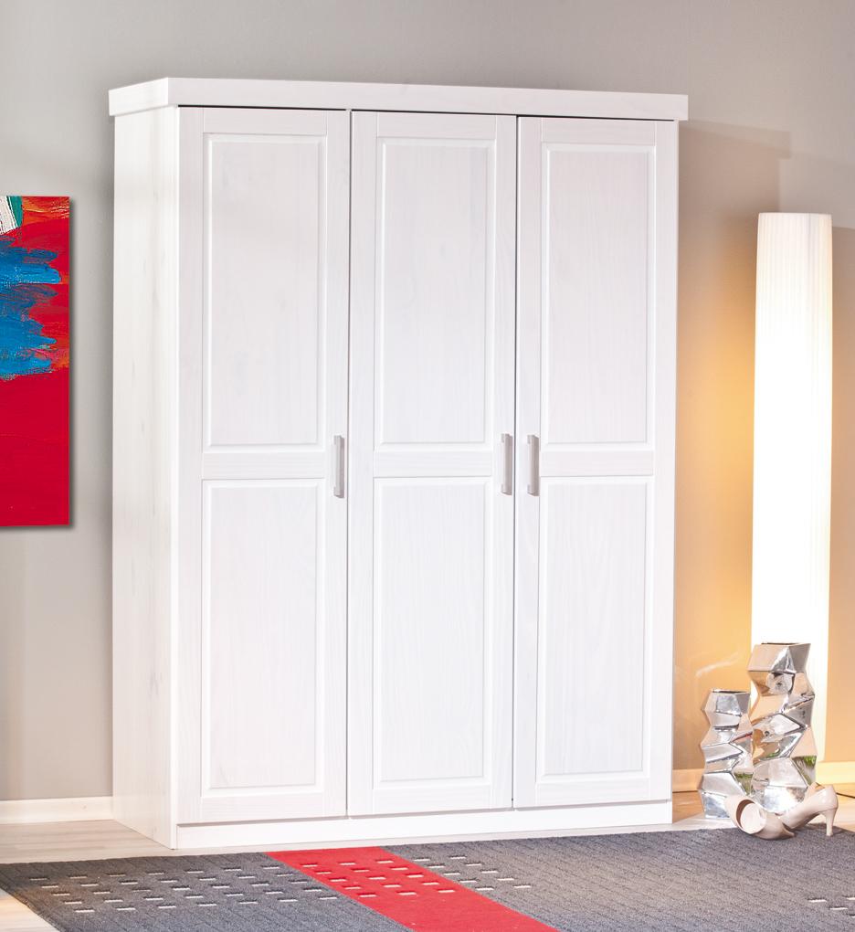 edler kleiderschrank aus kiefer massivholz in wei enns. Black Bedroom Furniture Sets. Home Design Ideas
