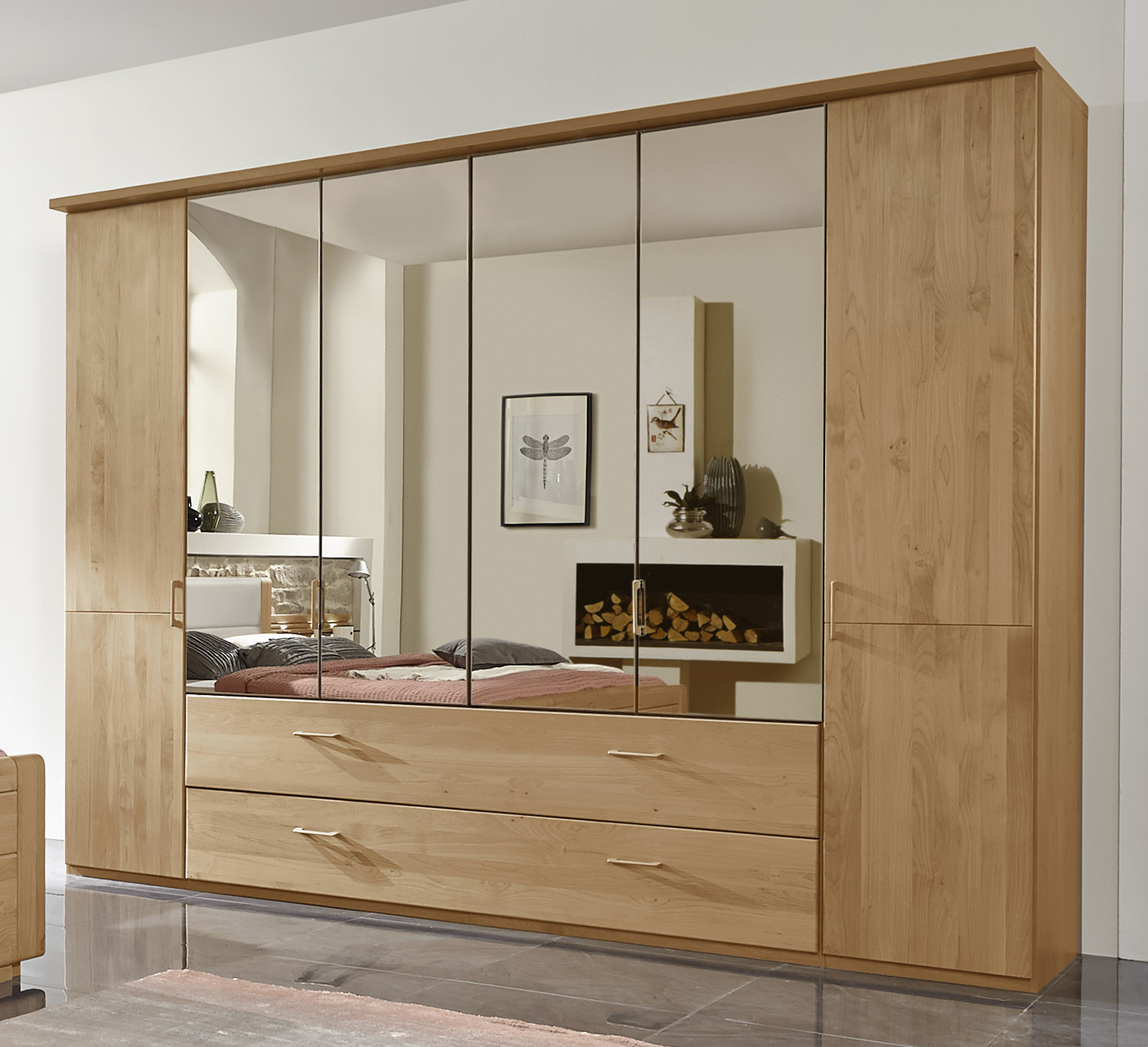 kleiderschrank mit schubladen spiegel und faltt ren narita. Black Bedroom Furniture Sets. Home Design Ideas
