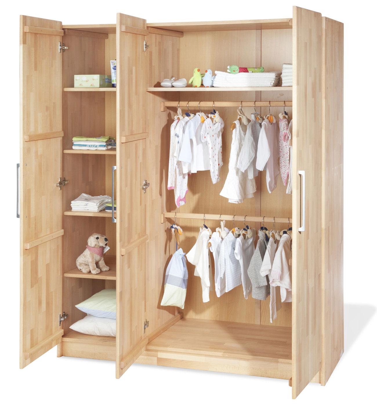 kinder kleiderschrank wahlweise mit 2 oder 3 t ren natura. Black Bedroom Furniture Sets. Home Design Ideas