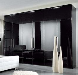 Kleiderschrank weiß schwarz hochglanz  Hochglanz Kleiderschrank schwarz mit Beleuchtung - Orlando