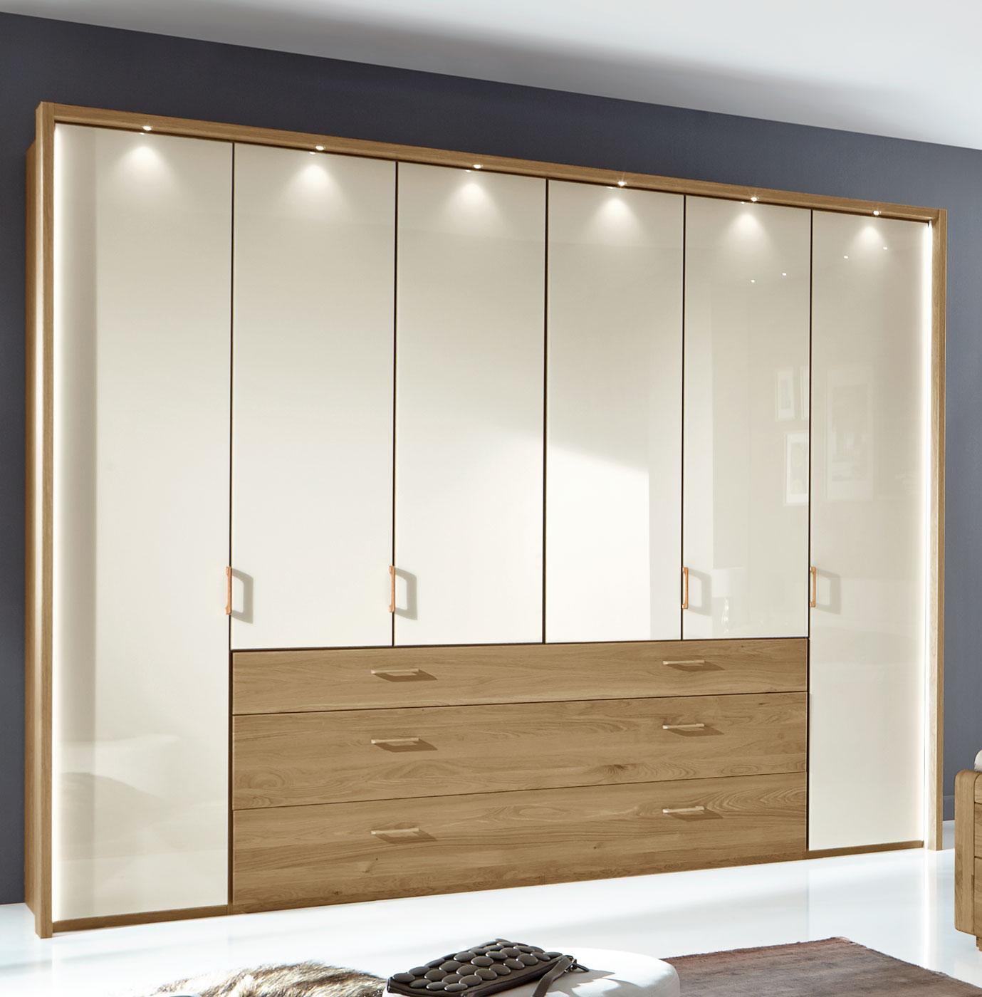 funktionskleiderschrank mit glast ren und schubladen toride. Black Bedroom Furniture Sets. Home Design Ideas