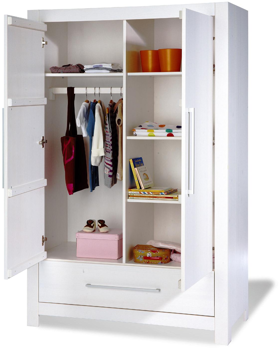 wei er 2 t riger kleiderschrank aus fichtenholz puro. Black Bedroom Furniture Sets. Home Design Ideas