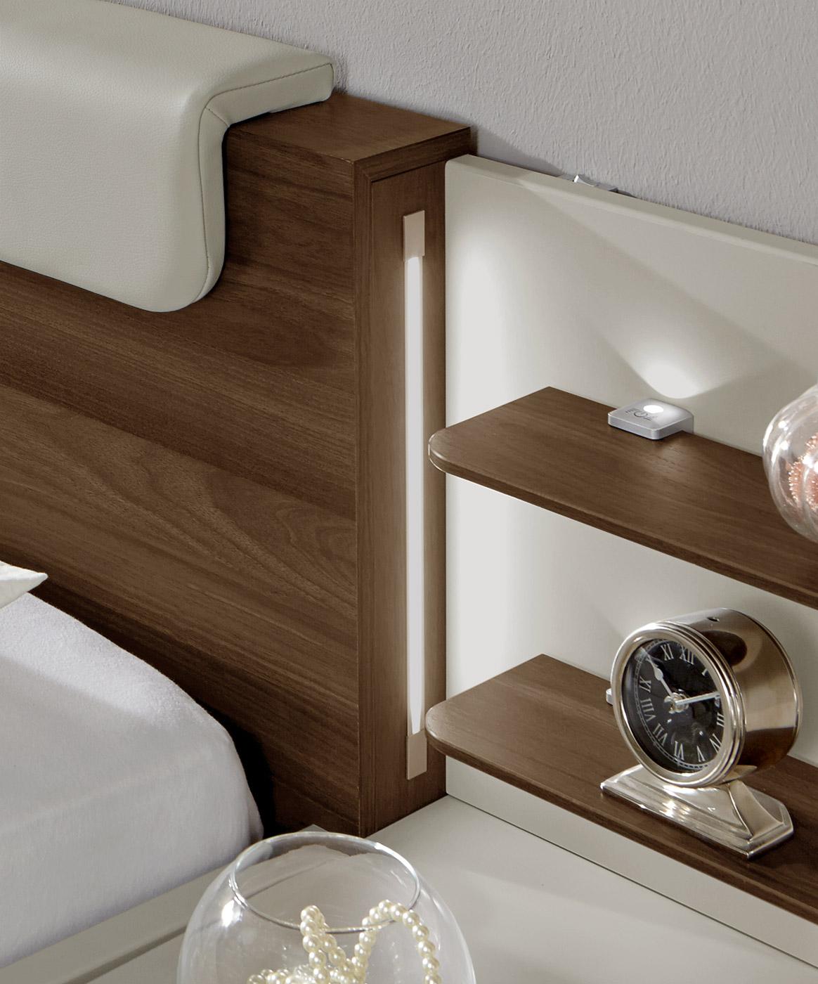 schwebebett z b in 140x200 in holzdekor und cremewei patiala. Black Bedroom Furniture Sets. Home Design Ideas