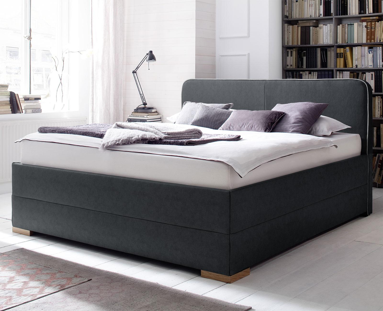 bett in boxspringoptik mit keder am kunstleder kopfteil sila. Black Bedroom Furniture Sets. Home Design Ideas