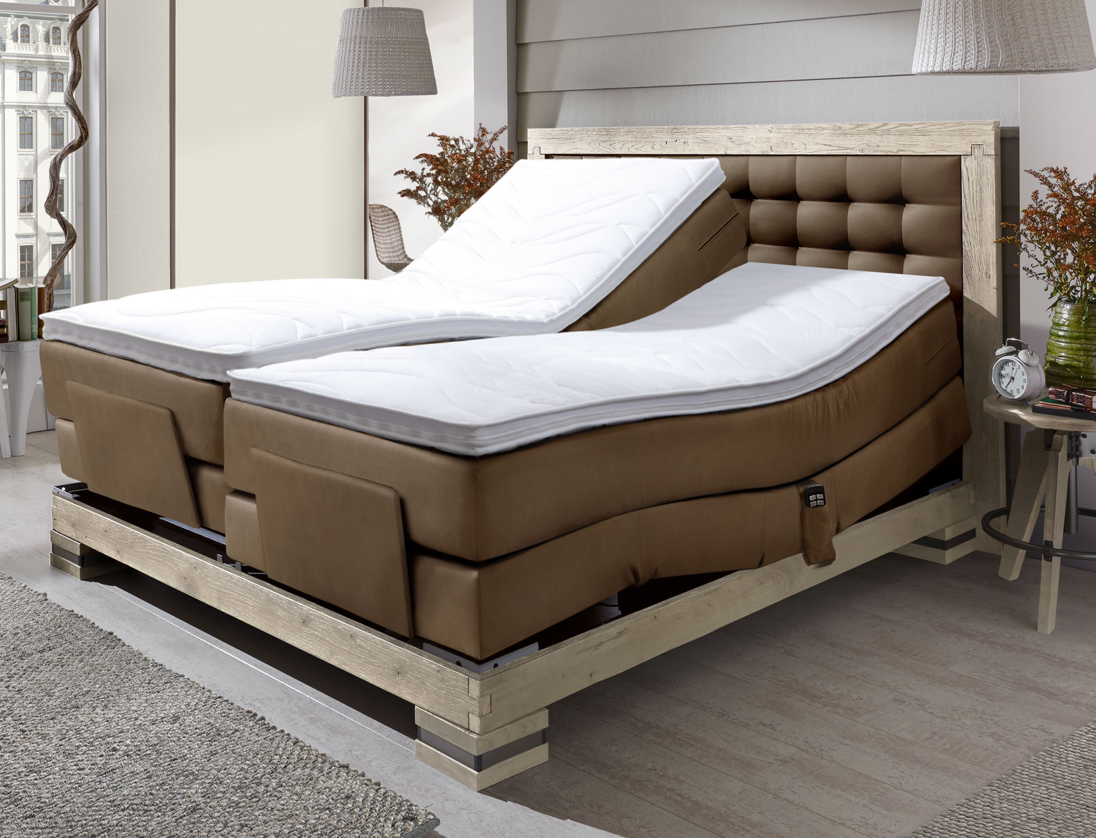 boxspringbett mit elektromotor 180x200 aronia elektro. Black Bedroom Furniture Sets. Home Design Ideas