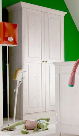 Massivholz Kleiderschrank Baby Paradise in Weiß