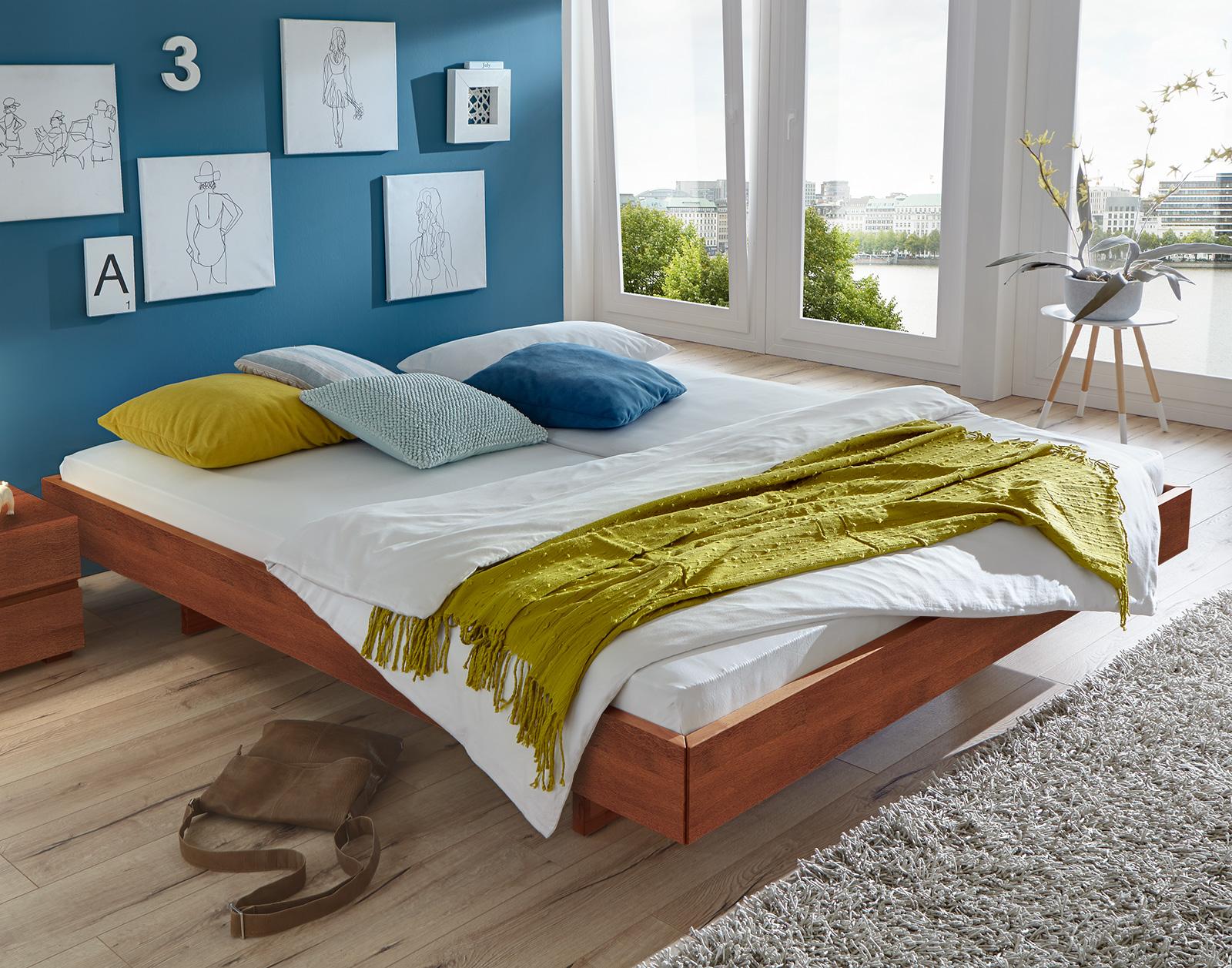Bett mit schweberahmen in nussbaumoptik   liege rimini