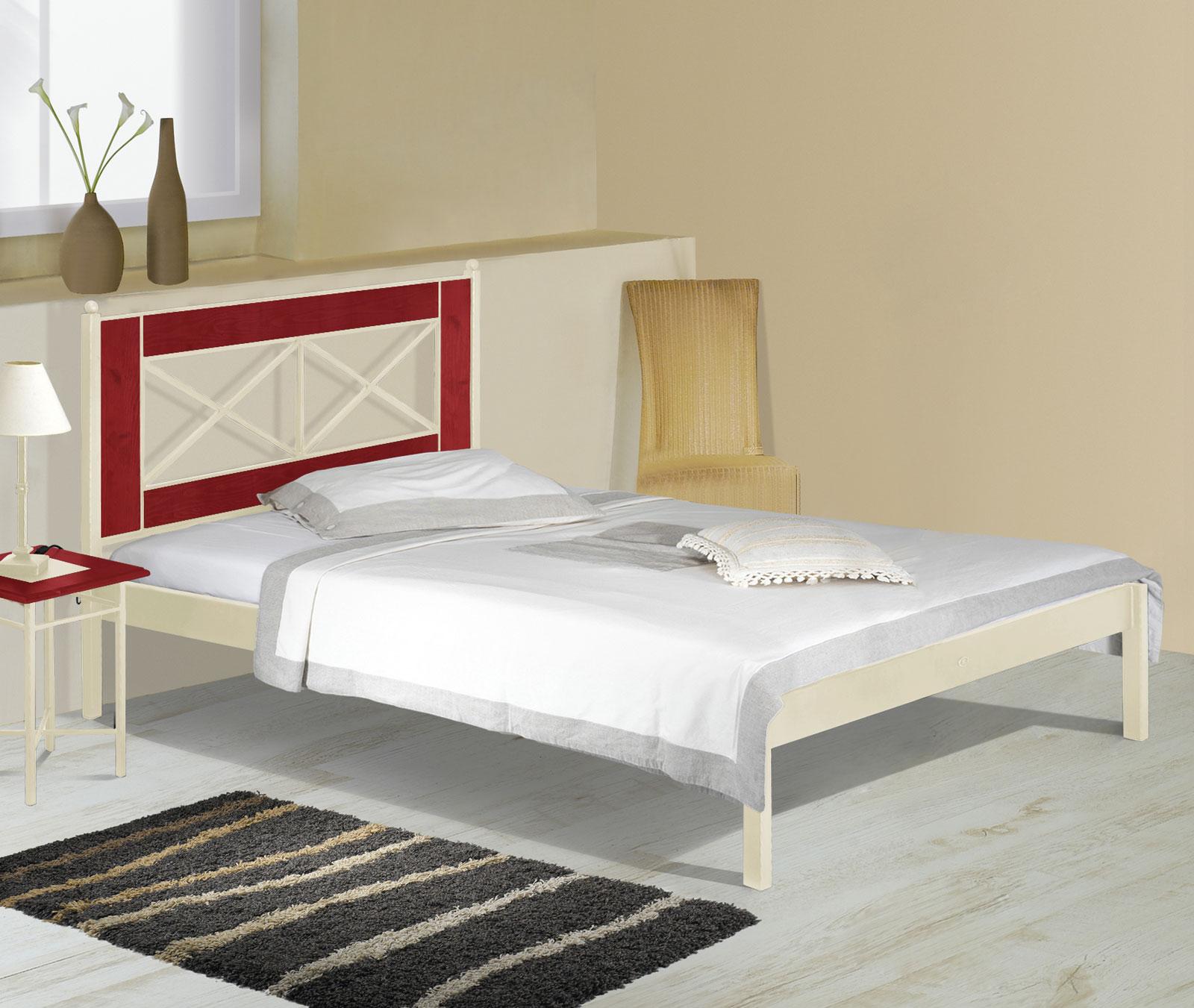 Komfortbett aus Metall und Eiche in 180x200 - Pintana