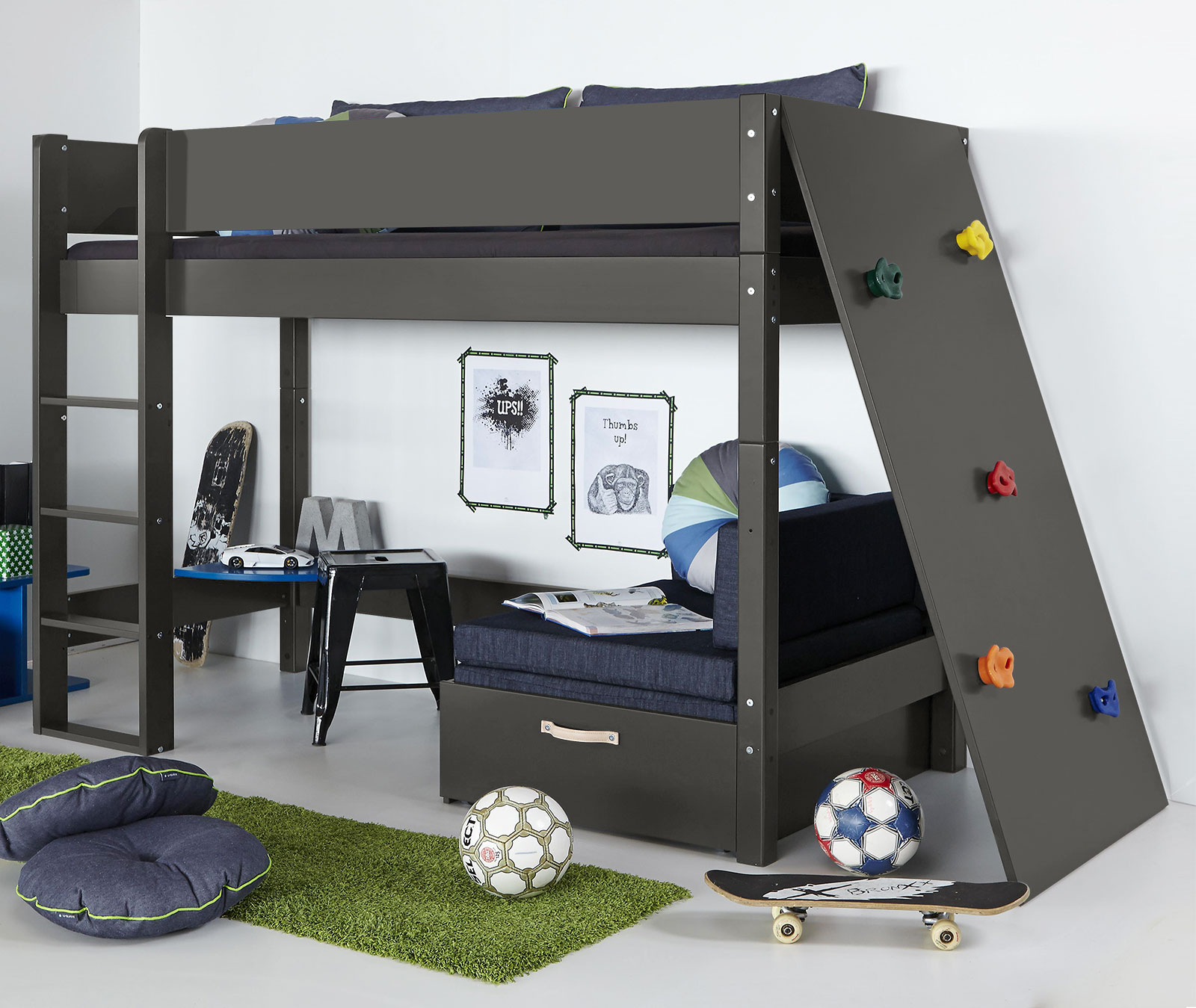 midi hochbett aus mdf und buche mit kletterwand kids town. Black Bedroom Furniture Sets. Home Design Ideas