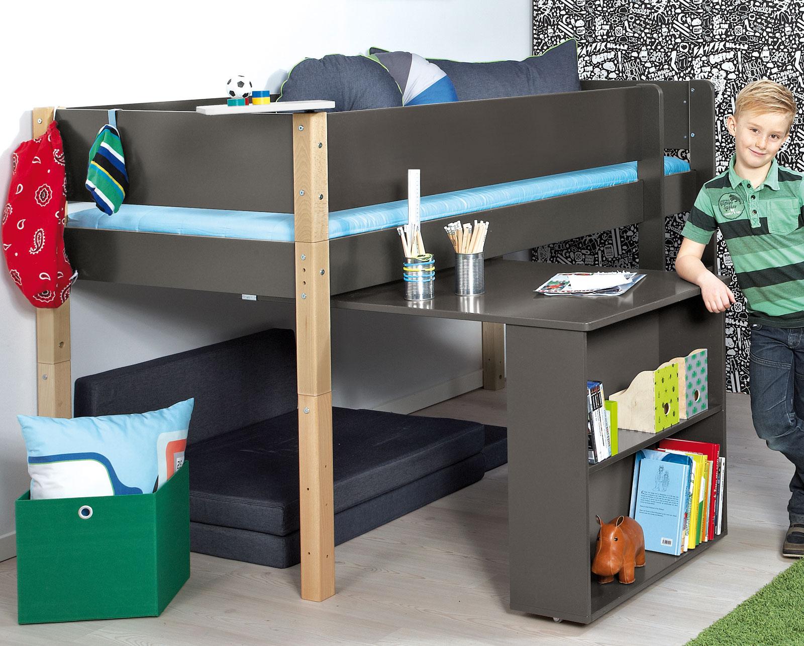 Mini-Hochbett mit Auszieh-Schreibtisch und Regal - Kids Town
