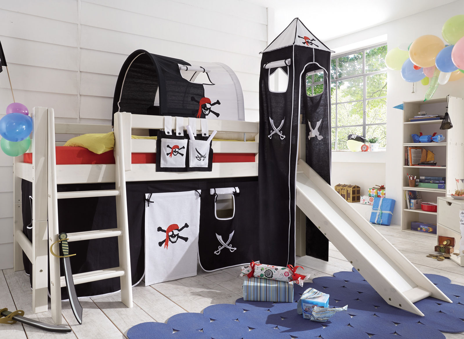 kinderhochbett mit rutsche wei. Black Bedroom Furniture Sets. Home Design Ideas