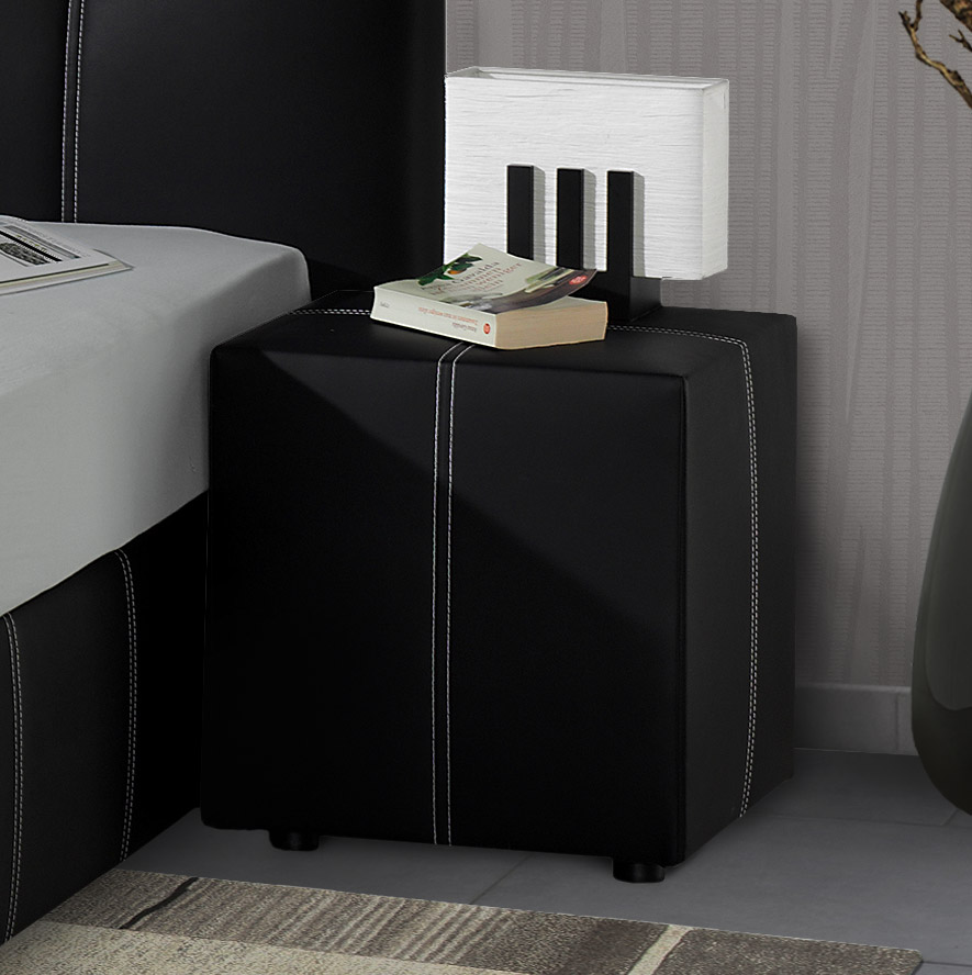 nachttisch aus kunstleder z b in wei mit ziernaht athen. Black Bedroom Furniture Sets. Home Design Ideas