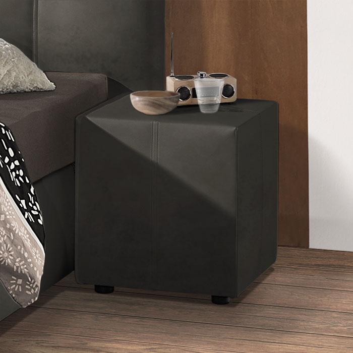 nachttisch w rfel aus kunstleder mit ziern hten dorida. Black Bedroom Furniture Sets. Home Design Ideas