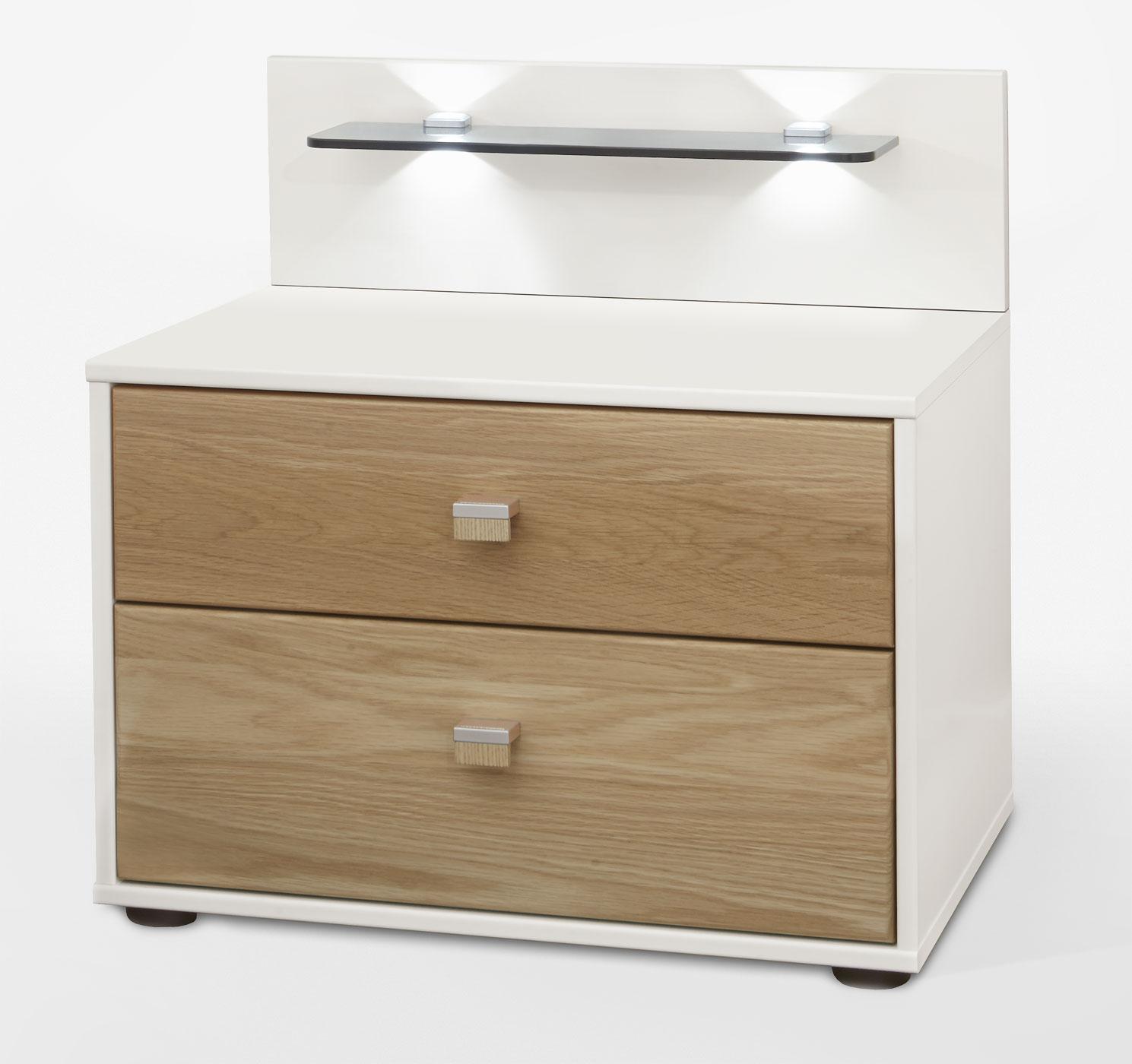 nachttisch mit led beleuchtung top nachttisch nuncia x weiss led beleuchtung steppnaht with. Black Bedroom Furniture Sets. Home Design Ideas