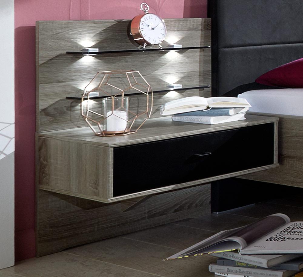 tr ffeleiche nachttisch mit schublade in schwarz korba. Black Bedroom Furniture Sets. Home Design Ideas