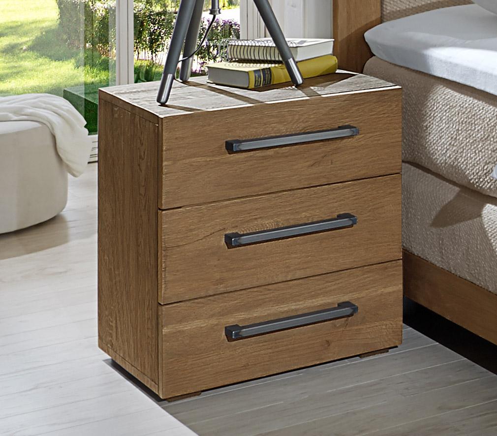 nachttisch aus wildeiche z b mit metallgriffen livorno. Black Bedroom Furniture Sets. Home Design Ideas