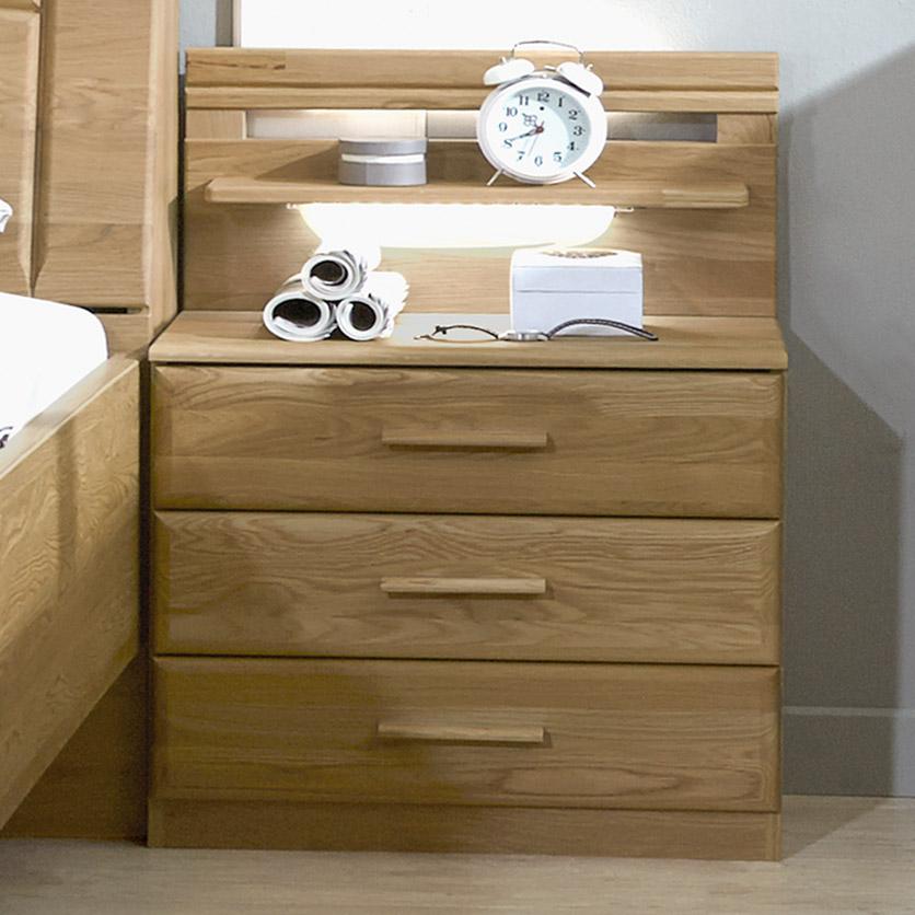 schubladen nachttisch im landhausstil aus eiche quebo. Black Bedroom Furniture Sets. Home Design Ideas