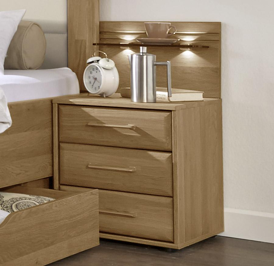 teilmassive nachtkonsole aus eiche mit drei schubladen raida. Black Bedroom Furniture Sets. Home Design Ideas