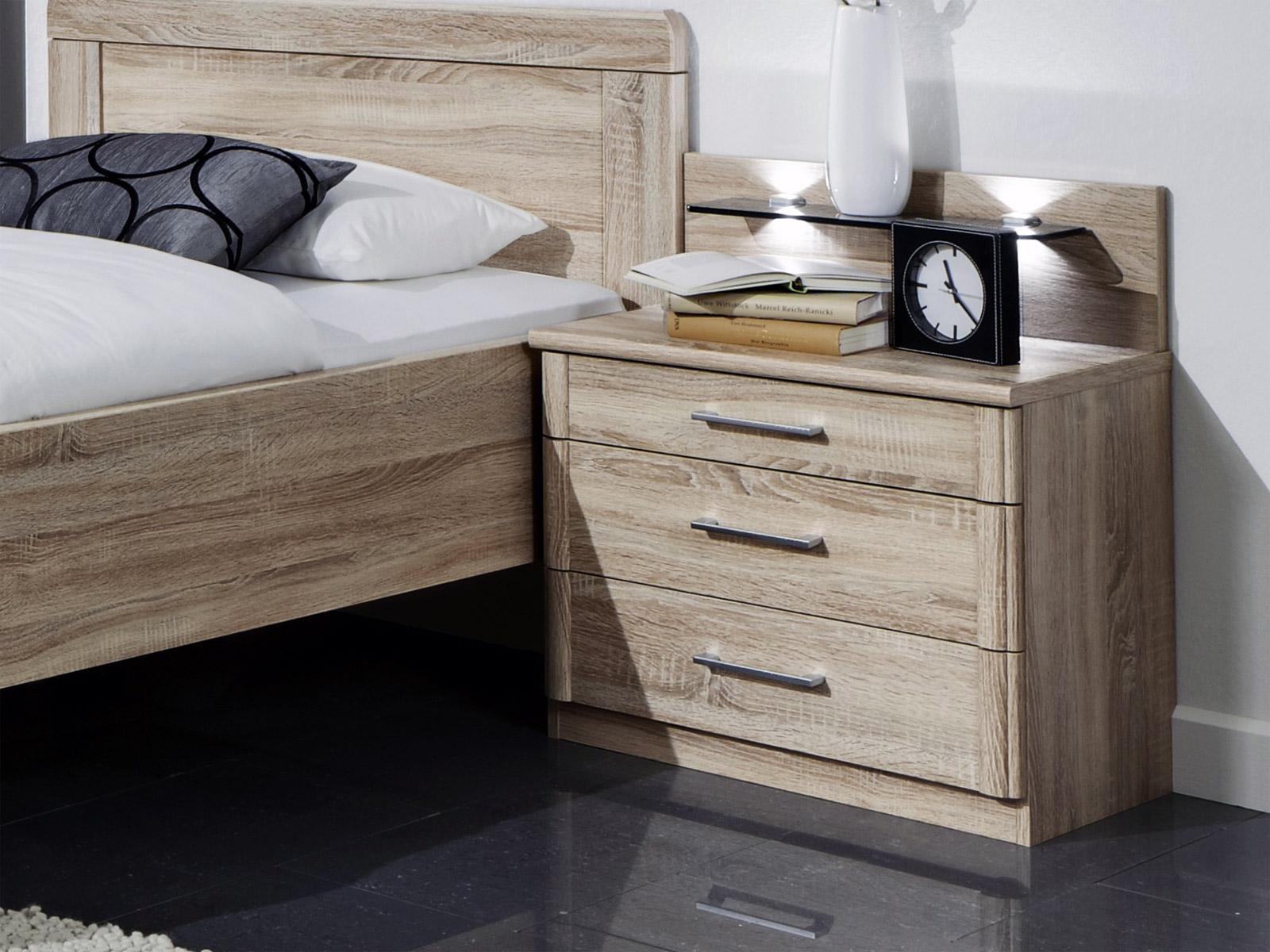 nachttisch mit drei schubladen in zwei breiten runcorn. Black Bedroom Furniture Sets. Home Design Ideas