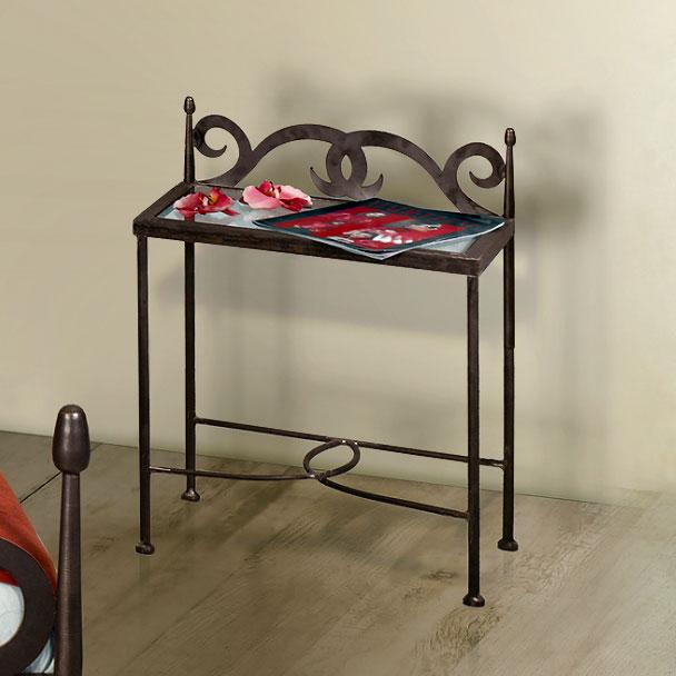 Nachttisch Aus Metall In Anthrazit Mit Glasablage - Temco