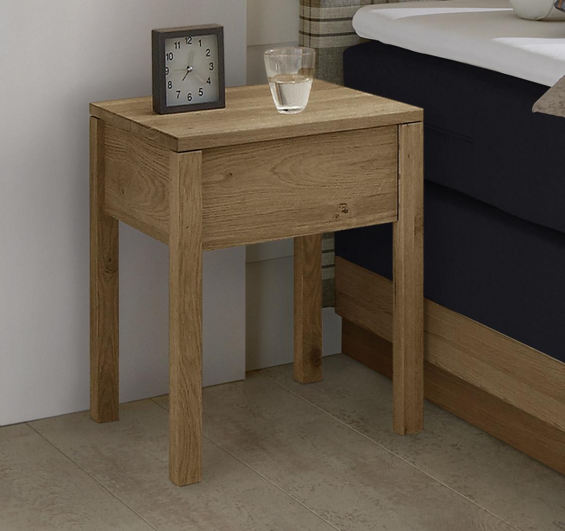 massivholz nachttisch aus ge lter eiche mit schublade vilani. Black Bedroom Furniture Sets. Home Design Ideas