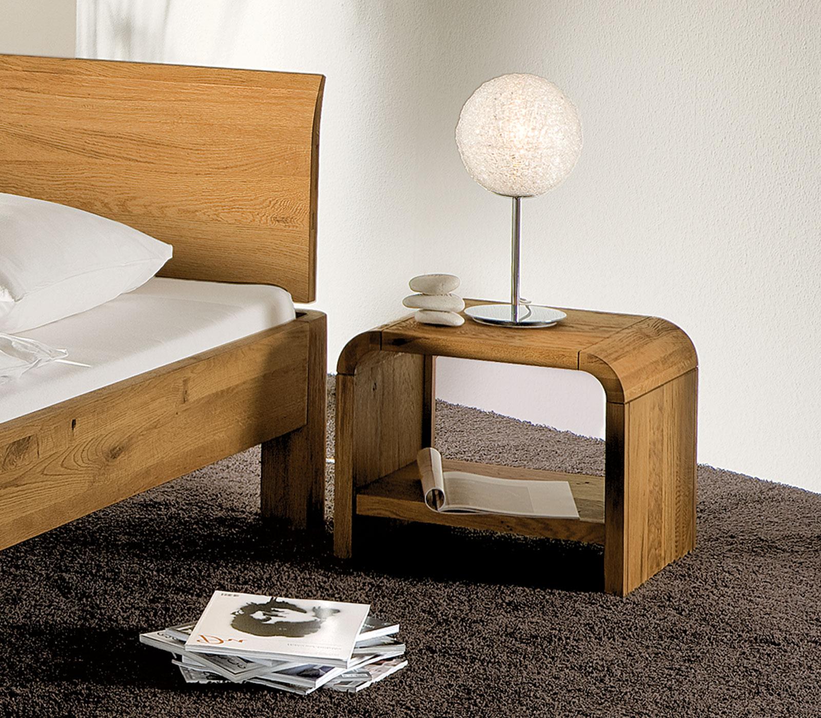 nachttisch mit abgerundeten ecken massiv - santa clara, Schlafzimmer design
