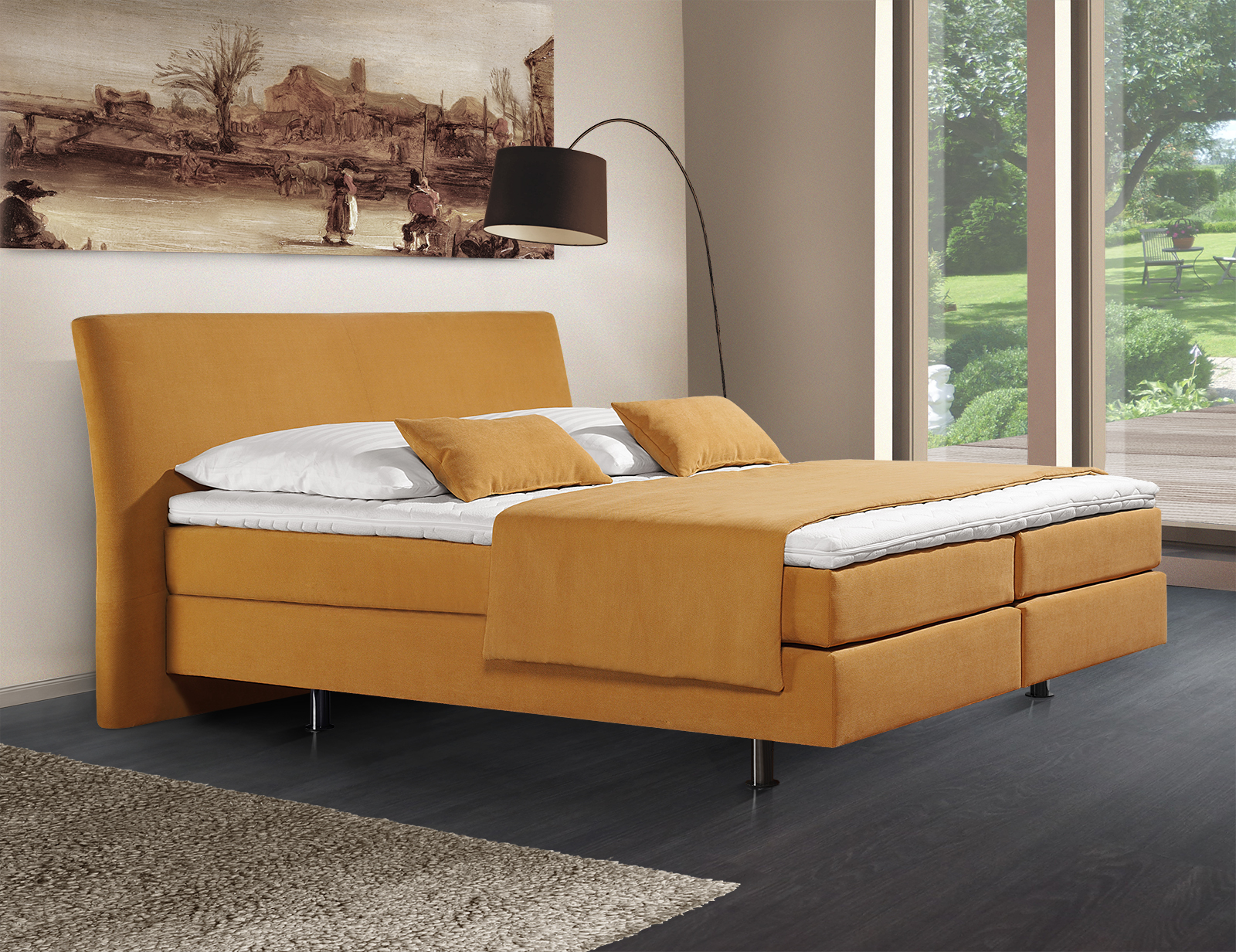 elegantes boxspringbett z b in rot gr e 180x200 pistoia. Black Bedroom Furniture Sets. Home Design Ideas