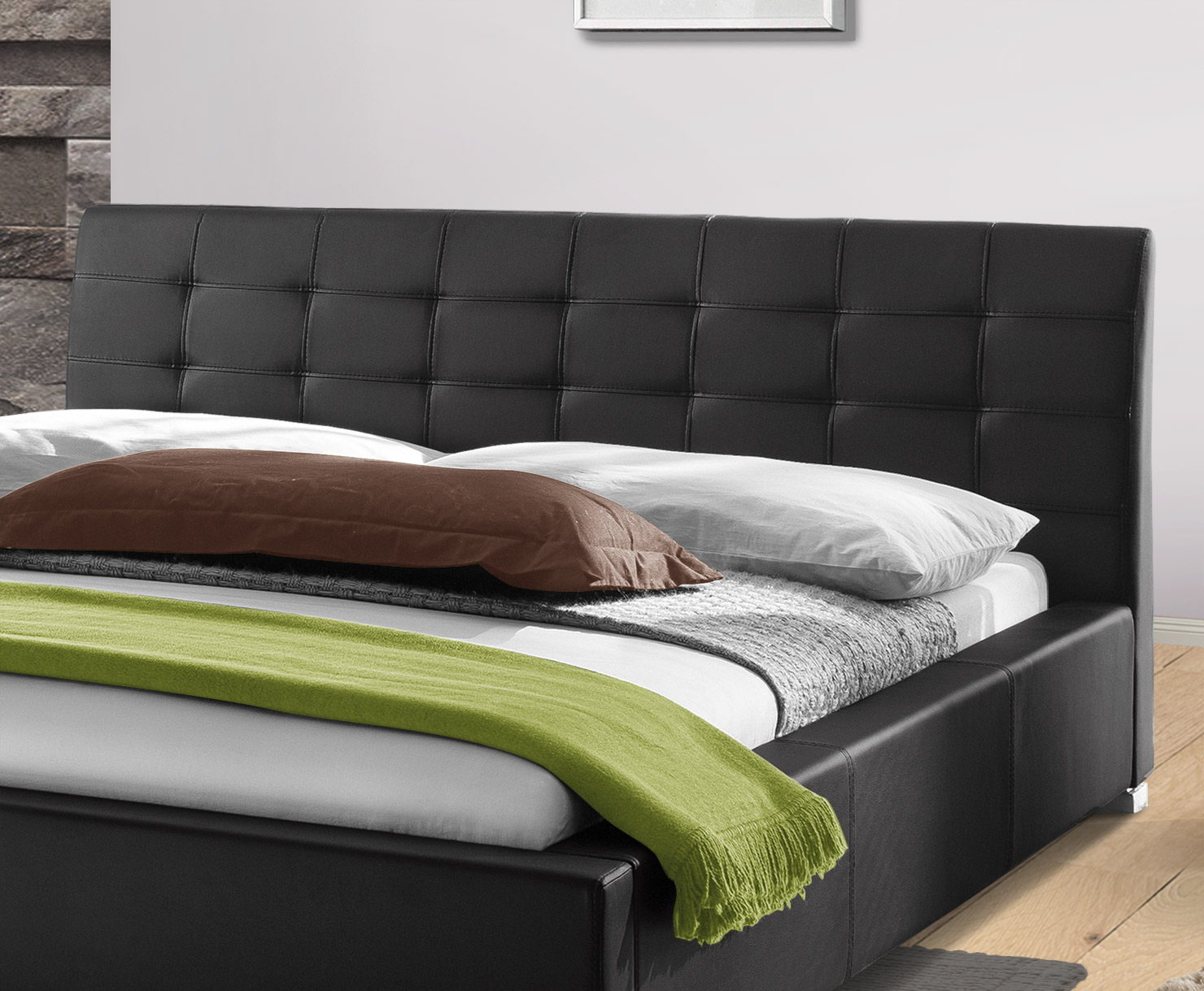 polsterbett mit hohem kopfteil stilvolle geschenk f r. Black Bedroom Furniture Sets. Home Design Ideas