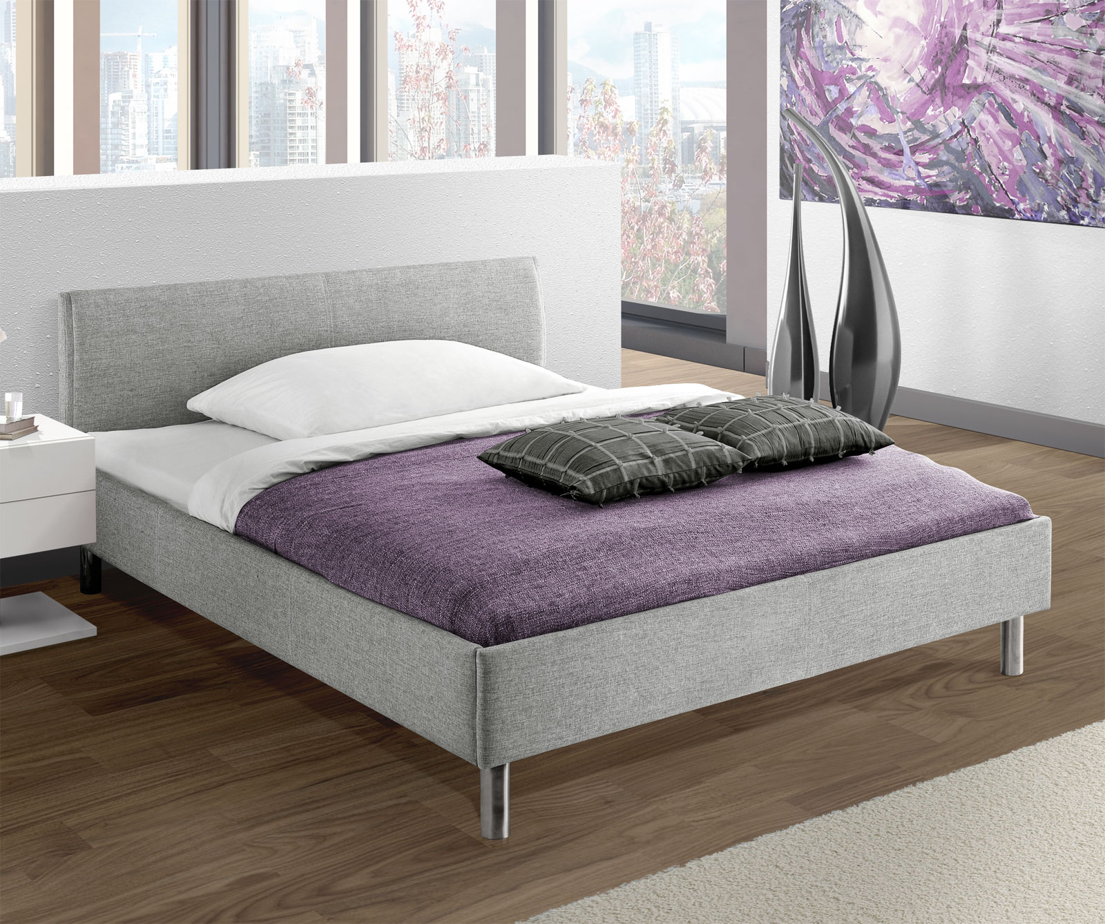 preiswertes graues polsterbett in 140x200 cm gravelines. Black Bedroom Furniture Sets. Home Design Ideas