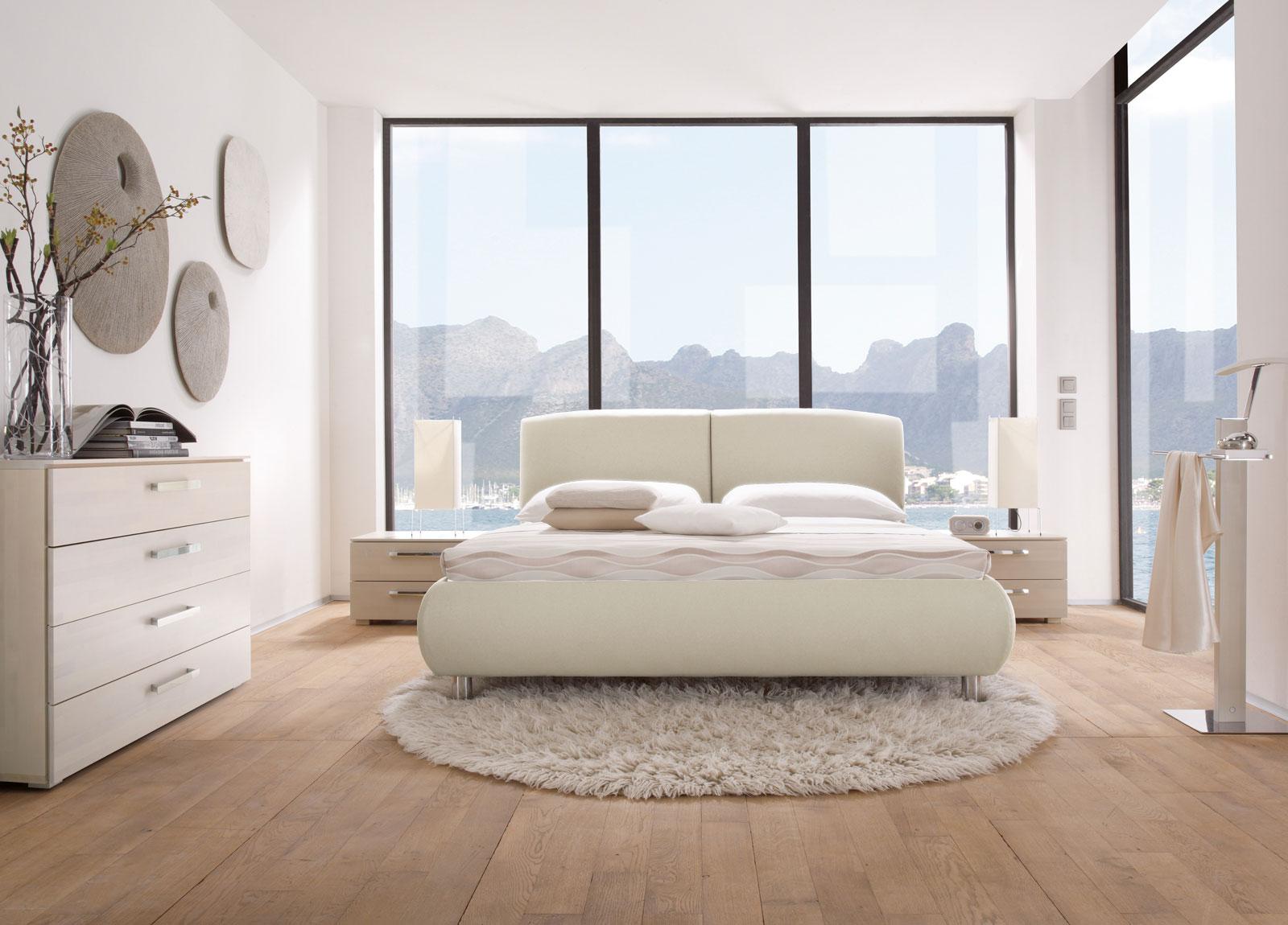 polsterbett aus kunstleder mit verstellbarem kopfteil - oristano - Schlafzimmer Taupe Weis