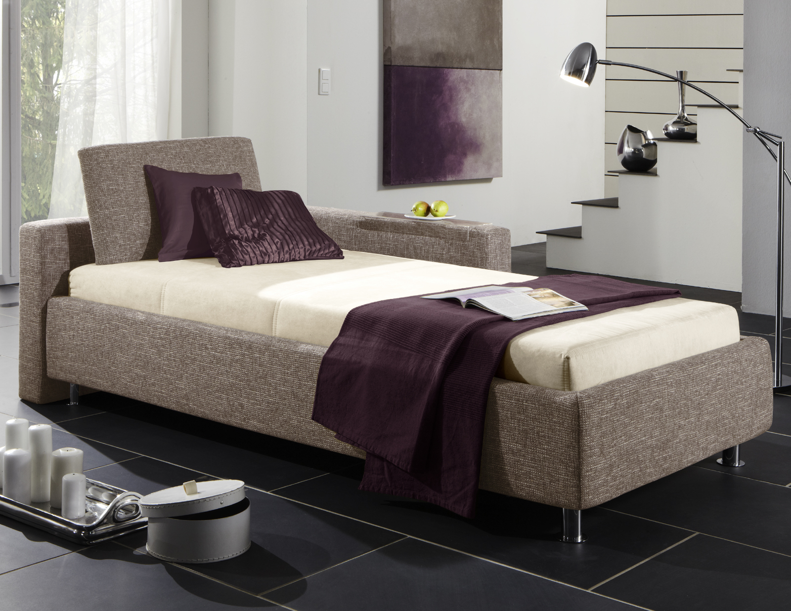 einzelbett mit bettkasten. Black Bedroom Furniture Sets. Home Design Ideas