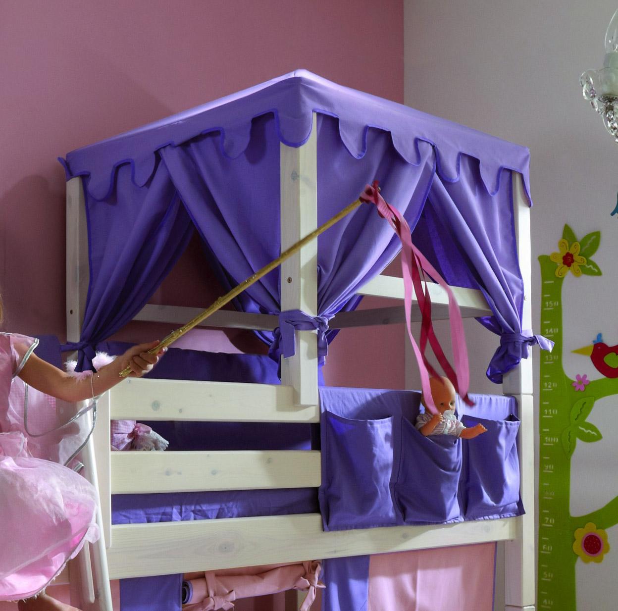 Prinzessin hochbett kids paradise in weiß inklusive vorhang