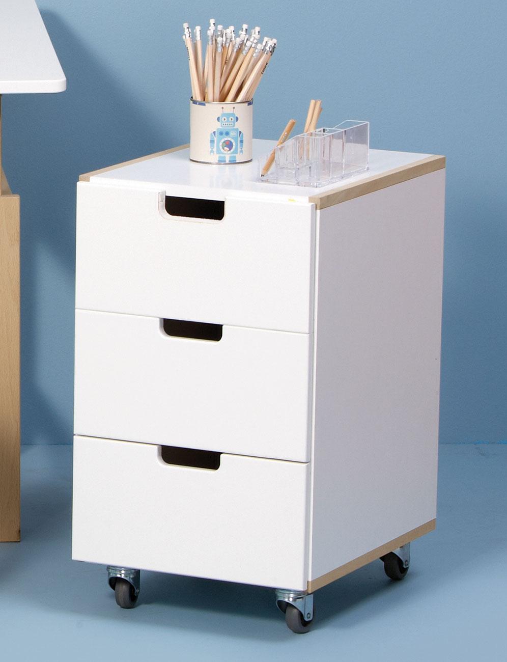 Rollcontainer in wei mit 3 farbigen schubladen kids town for Schreibtisch mit vielen schubladen