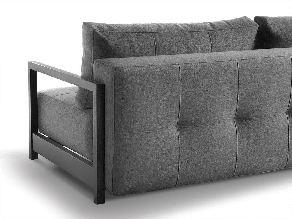 schlafsofa in grauem webstoff mit r ckenkissen butland. Black Bedroom Furniture Sets. Home Design Ideas