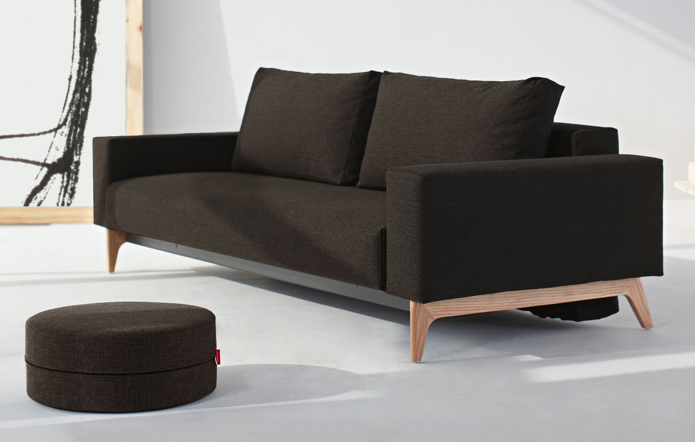 multifunktionales schlafsofa derby in grauem oder braunem webstoff. Black Bedroom Furniture Sets. Home Design Ideas