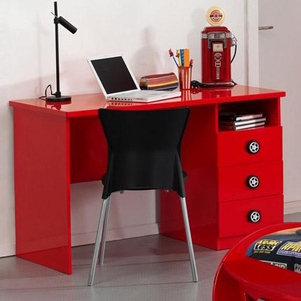 kinder schreibtisch in rot mit drei schubladen tuning. Black Bedroom Furniture Sets. Home Design Ideas