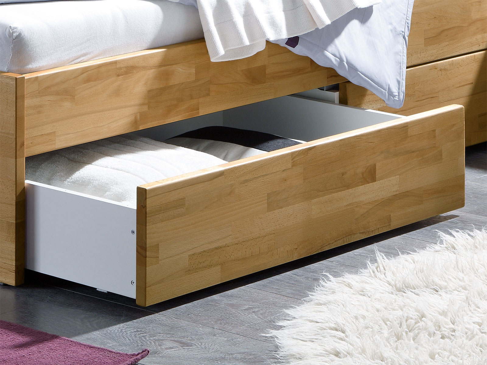 einzelbett aus holz mit schubladen kaufen leova. Black Bedroom Furniture Sets. Home Design Ideas