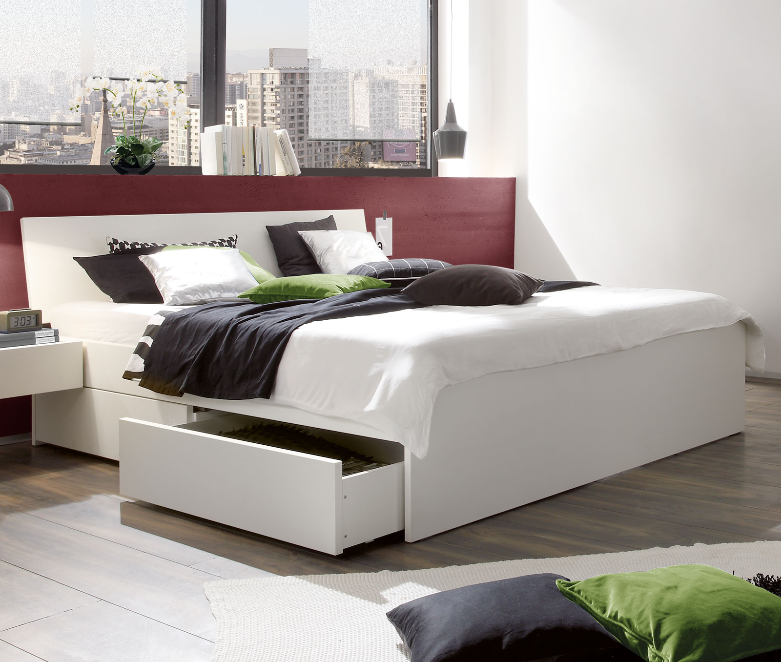 100 bett mit bettkasten in braun dreams4home. Black Bedroom Furniture Sets. Home Design Ideas