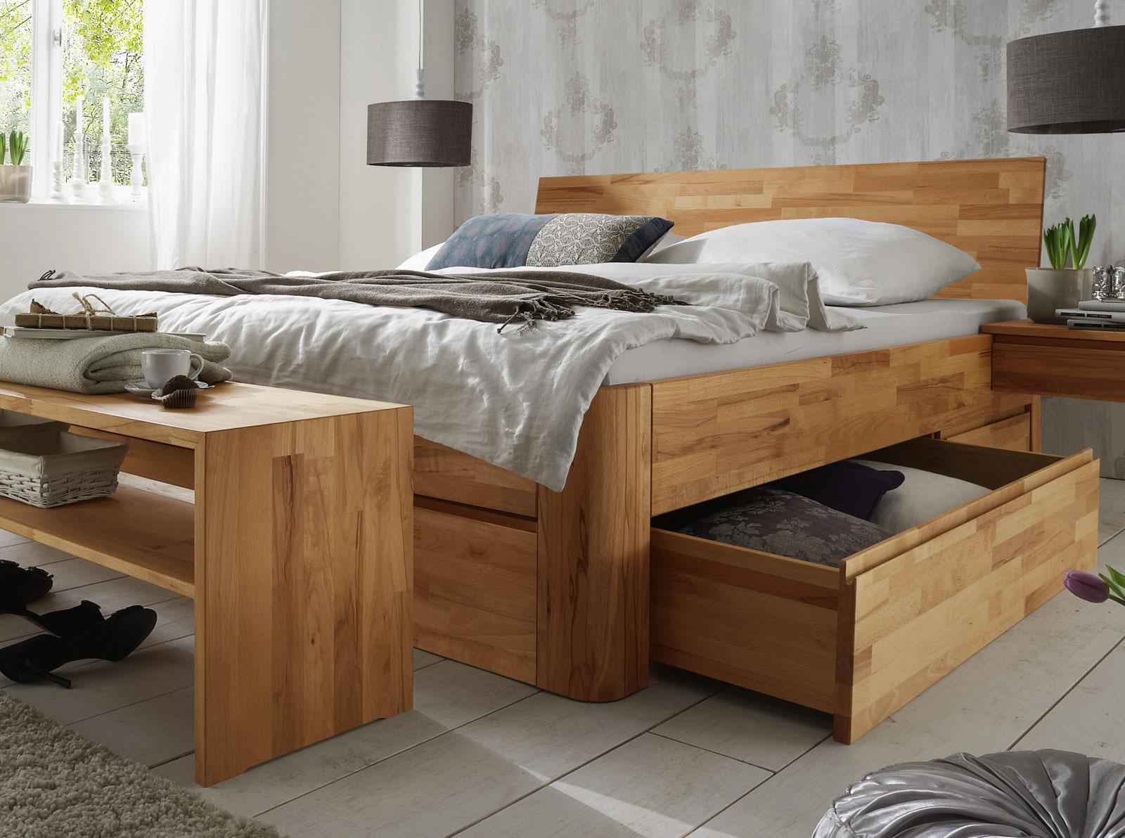 Massivholz Doppelbett Mit Bettkasten - Zarbo