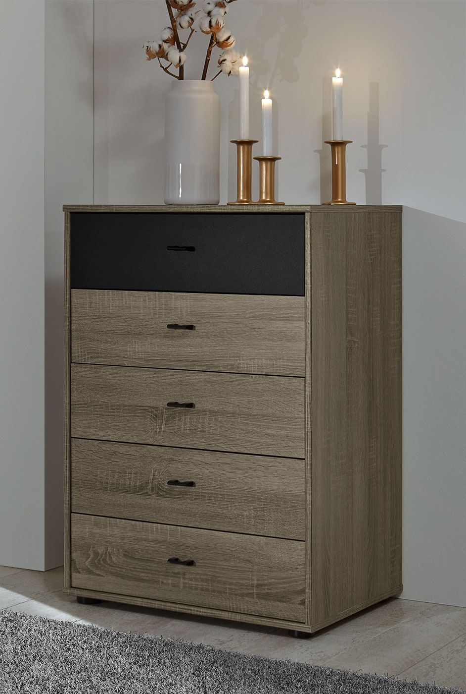 schubladenkommode mit 60 cm breite in dunklem dekor korba. Black Bedroom Furniture Sets. Home Design Ideas