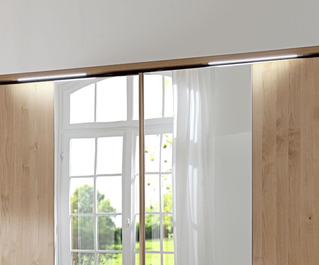 Schwebetürenschrank in Erle mit Spiegel und Beleuchtung - Ageo