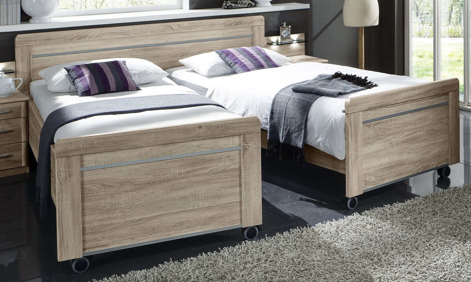 auseinander geschobenes seniorenbett runcorn in eiche s gerau dekor. Black Bedroom Furniture Sets. Home Design Ideas