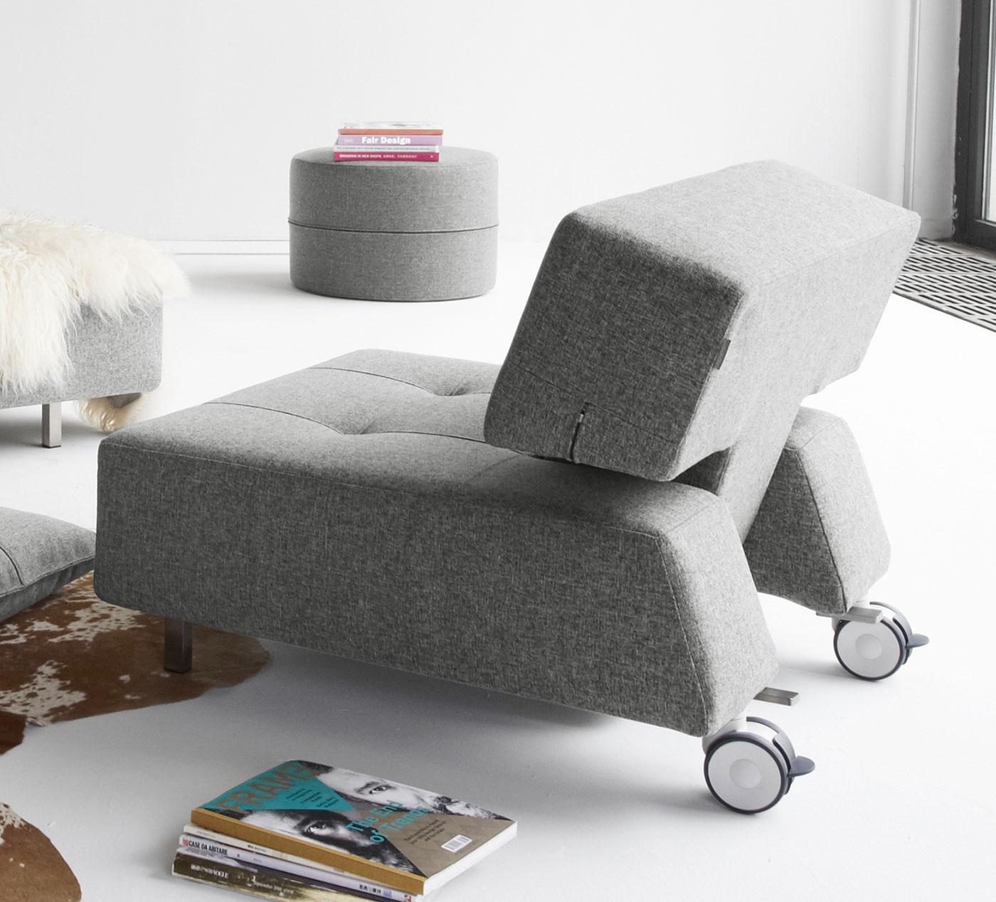 relax-sessel mit rollen ohne armlehnen in grau - ross, Hause deko