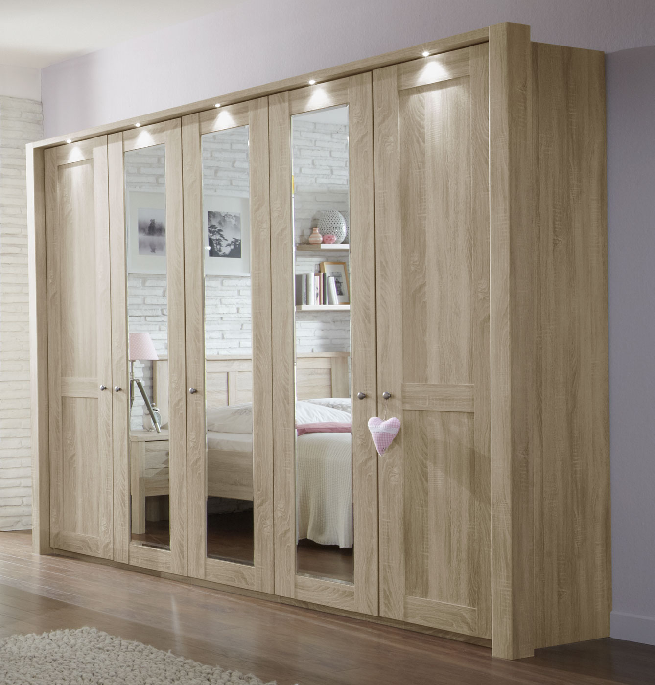 schrank mit dreht ren eiche s gerau dekor mit spiegelglas farim. Black Bedroom Furniture Sets. Home Design Ideas