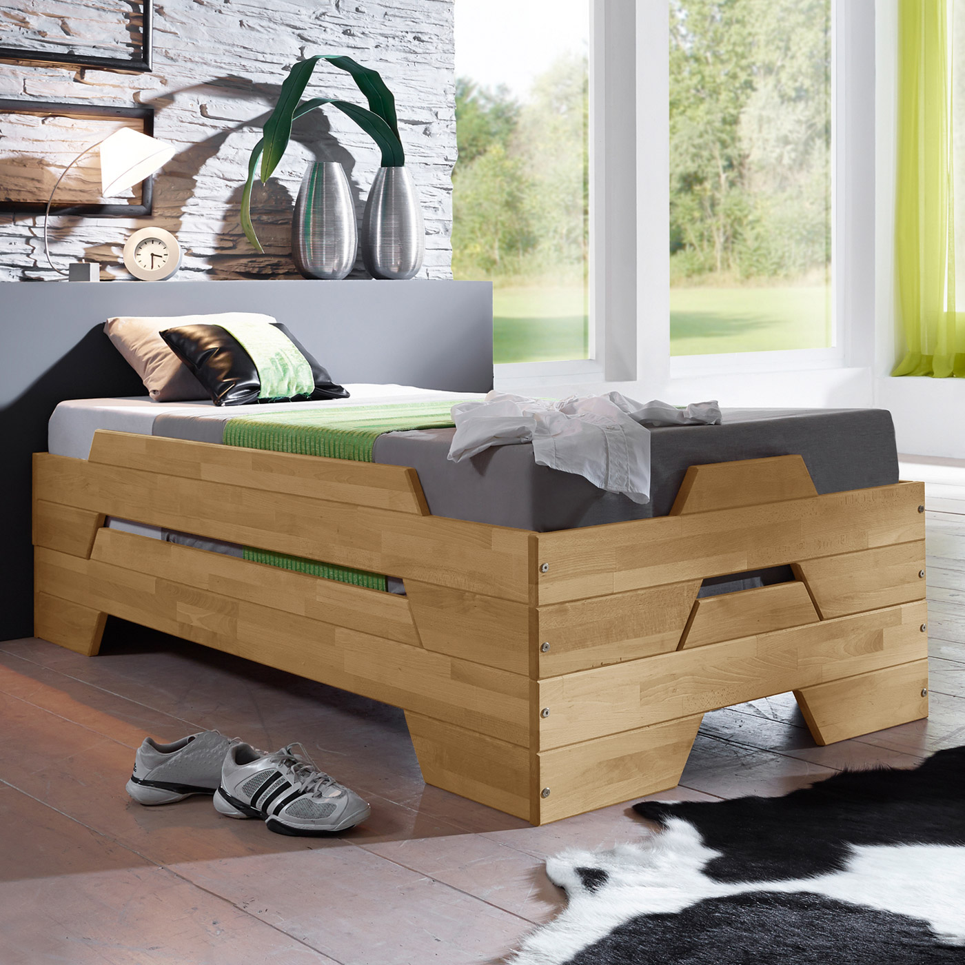 funktionsbett 140 200 mit lattenrost und matratze. Black Bedroom Furniture Sets. Home Design Ideas